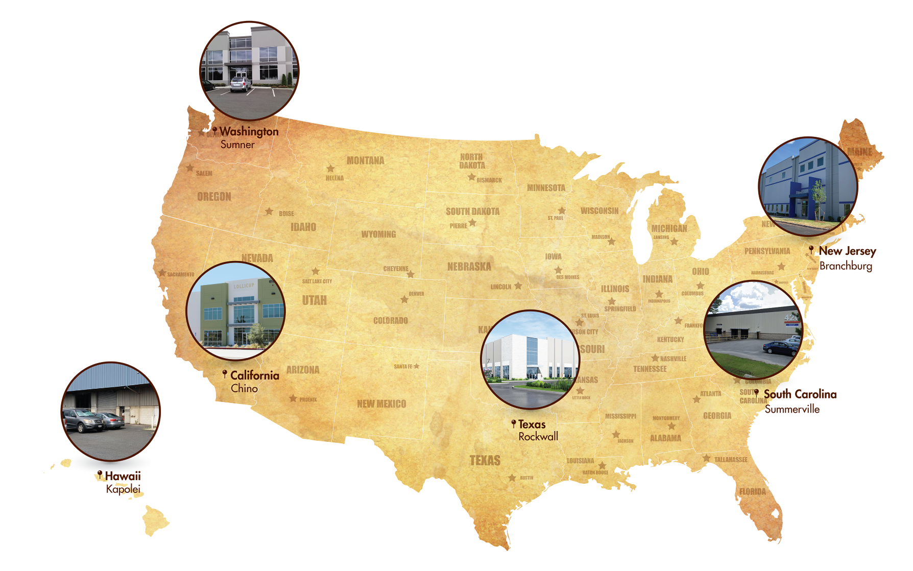 US Map of warehouse locations